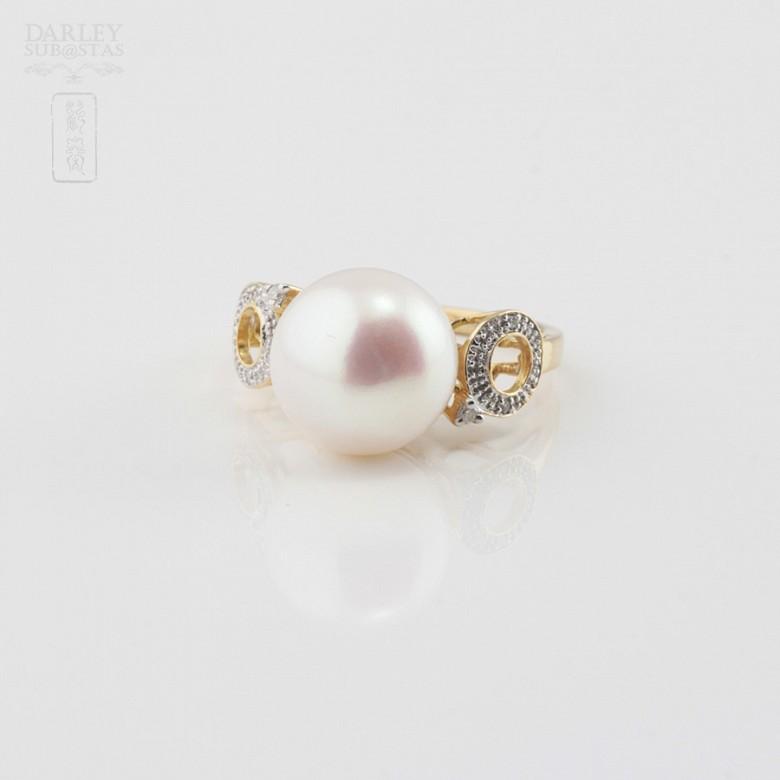 18K白金钻石白珍珠戒指 - 1