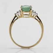 1.78克拉祖母绿配钻石18K黄金戒指 - 1