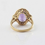 0.50cts elegant ring with diamonds and 18k yellow gold amethyst - 2