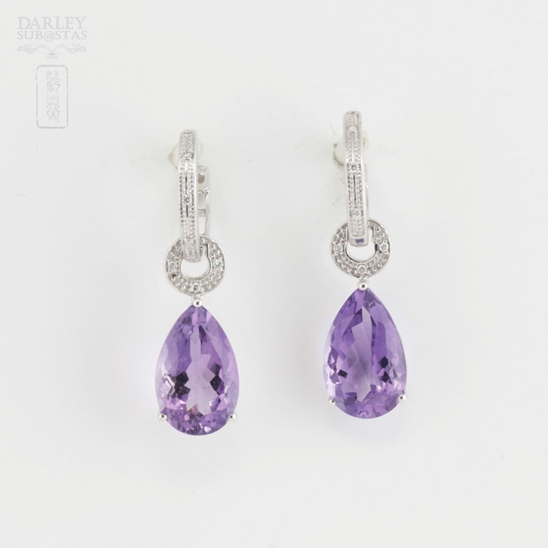 18k白金镶紫晶配钻石耳环