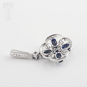 Pendant  sapphire2 .85cts and diamond  in white gold - 1