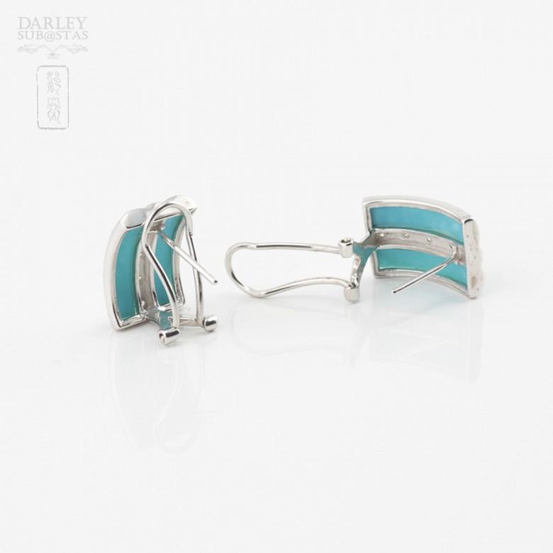 绿松石配钻石18K白金耳环 - 2