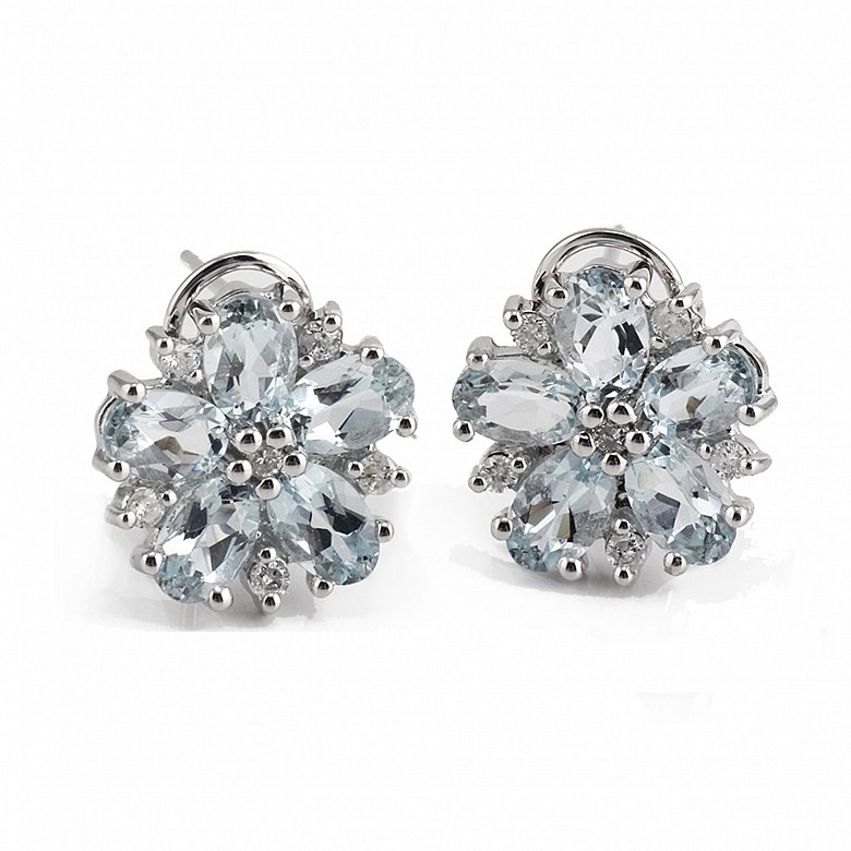 Pendientes en oro blanco de 18k y diamantes