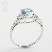 1.60克拉海蓝宝石配钻石18K白金戒指 - 2