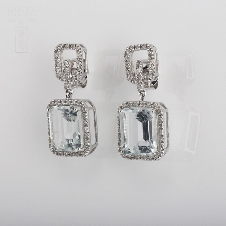 6.45克拉海蓝宝石配钻石18K白金耳环 - 3