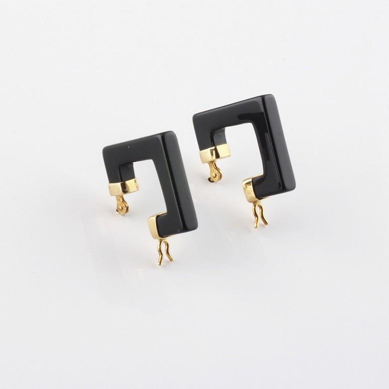 天然黑玛瑙配18K黄金耳环
