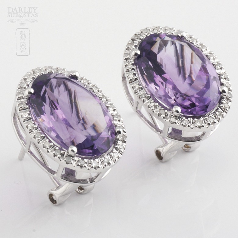 Earrings with amethyst 10.20 cts  and diamonds in white gold - 5