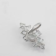18K白金嵌7.42克拉海蓝宝石镶钻石戒指 - 4