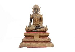 Escultura tailandesa de Buda de bronce dorado, s.XIX