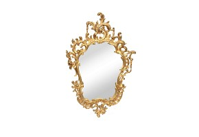 Carved mirror made of turned wood, Rococó style, 19th century