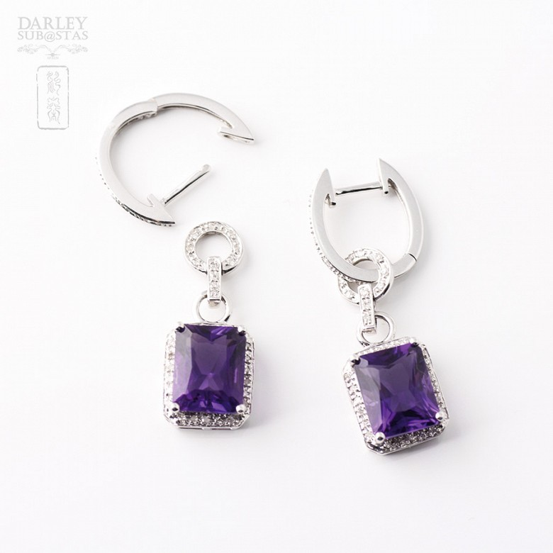 largosde 18k  with  amethyst 5.97 cts earrings and  diamonds - 2