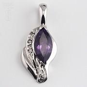 0.90克拉天然紫晶配钻石18K白金挂坠