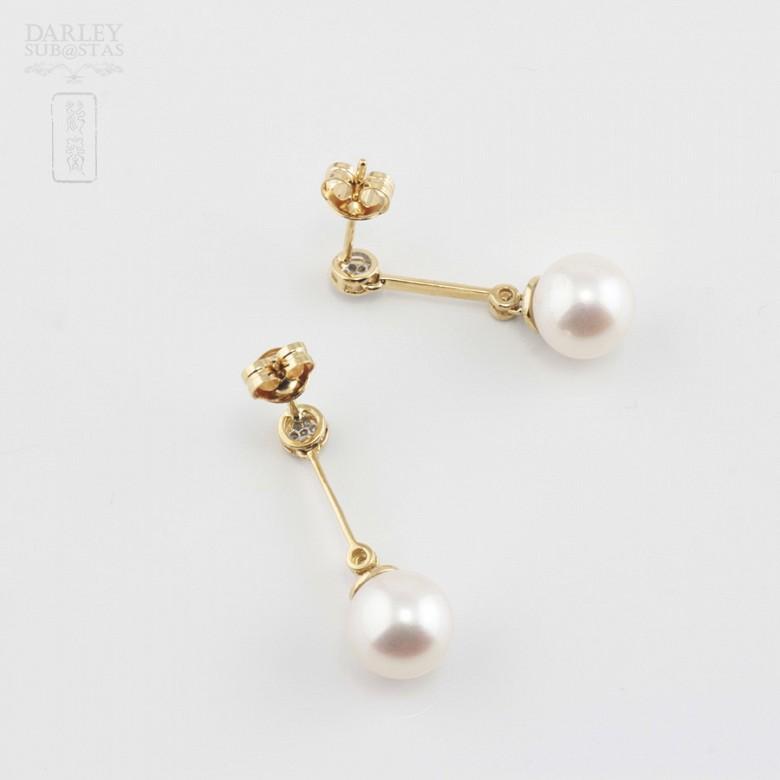 Bonitos pendientes con perla y diamantes - 3