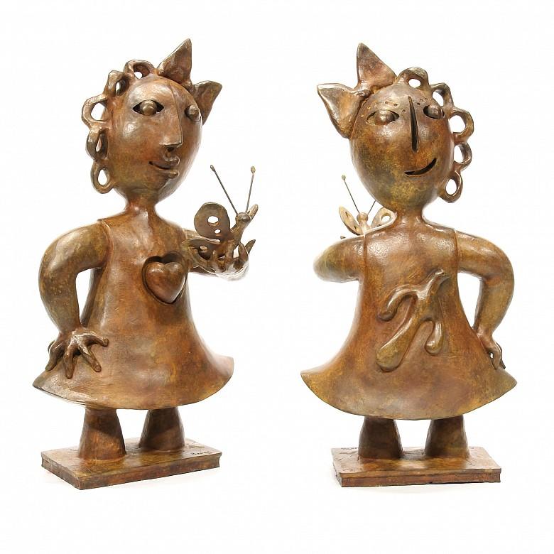 """JuanGarcíaRipolles(1932)""""舞者""""青銅雕塑"""