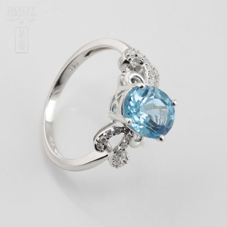 Beautiful diamond ring and blue topaz - 1