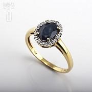 1.61克拉天然蓝宝石配钻石18K黄金戒指