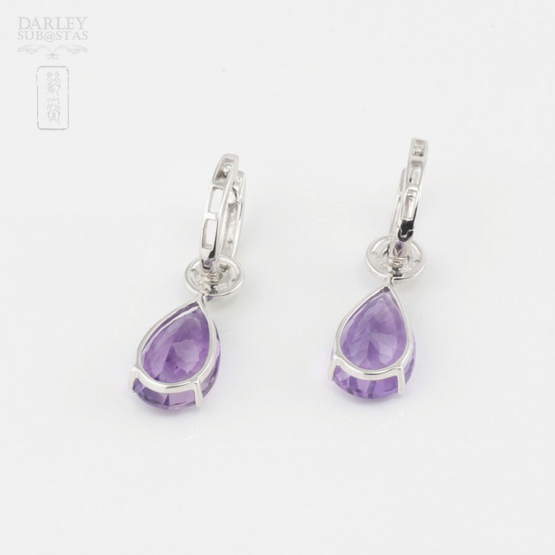 18k白金镶紫晶配钻石耳环 - 3