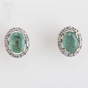 Pendientes oro amarillo 18k, esmeralda y diamantes - 1