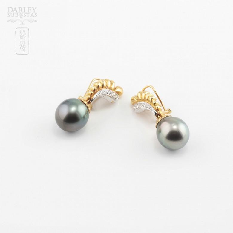 Preciosos pendientes oro bicolor y perla Tahití - 2