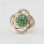 18K黄金镶钻石配祖母绿戒指 - 1