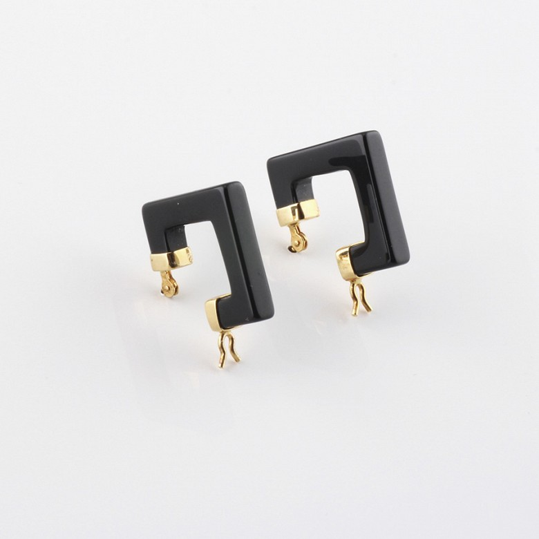 earrings natural onyx in 18k yellow gold
