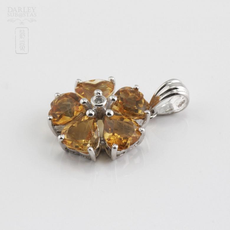 14K白金吊咀镶钻石及2.10克拉天然黄晶石 - 2