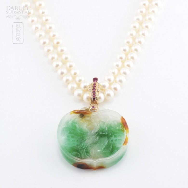 日本海珠挂玉牌镶红宝钻石项链