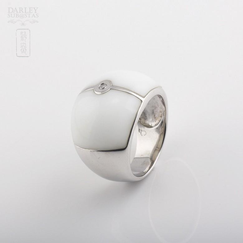 Ring Porcelain  in sterling silver, 925 - 3