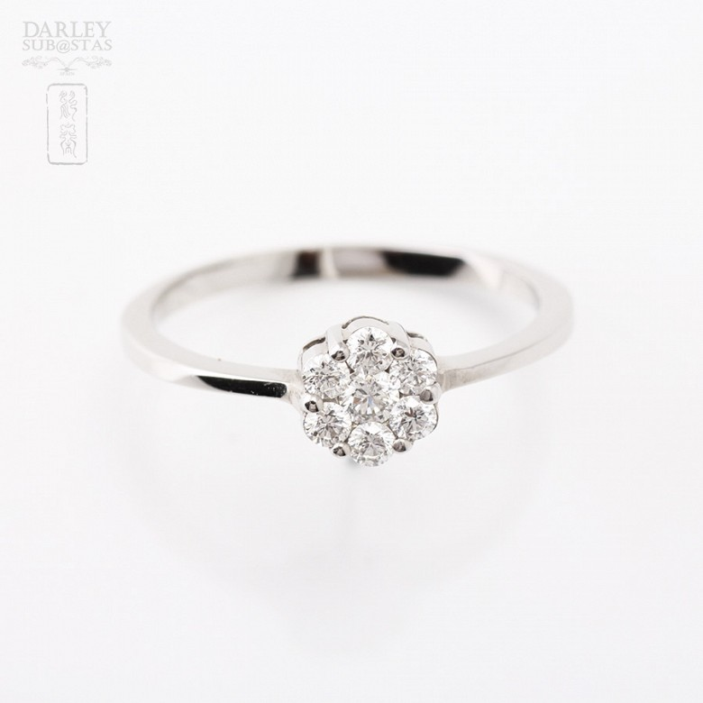 Ring in 18k white gold with diamonds - 2