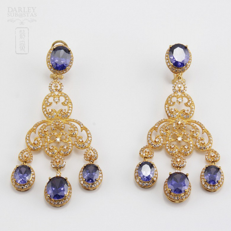 Aderezo de Fallera color azul Zafiro y dorado - 3