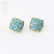 18k yellow gold and natural turquoise earrings - 2