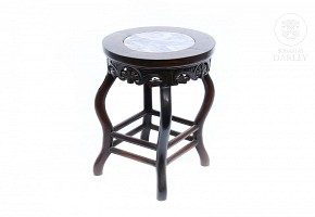 Wooden stool with veined marble top, 20th century