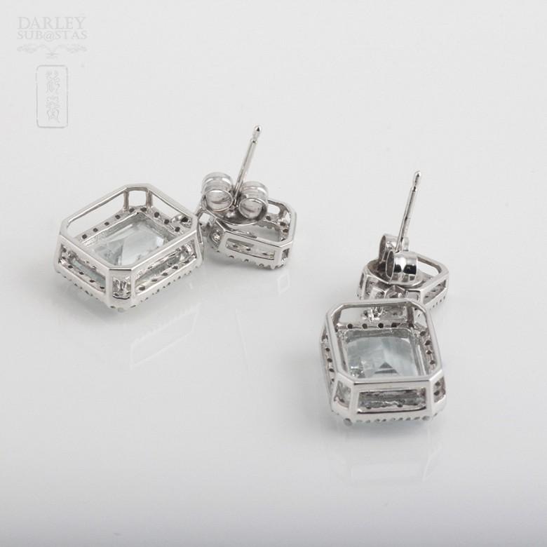 6.45克拉海蓝宝石配钻石18K白金耳环 - 2