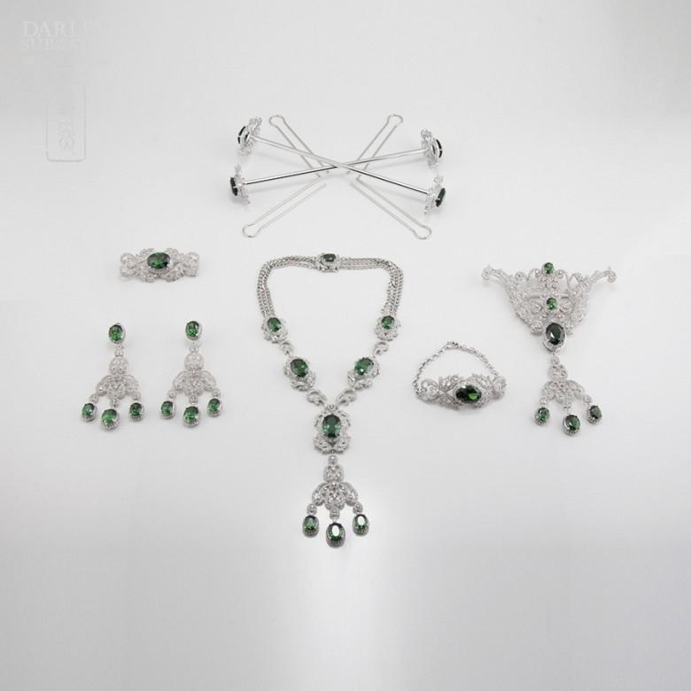 Aderezo de Fallera verde Esmeralda y plata Rodiado