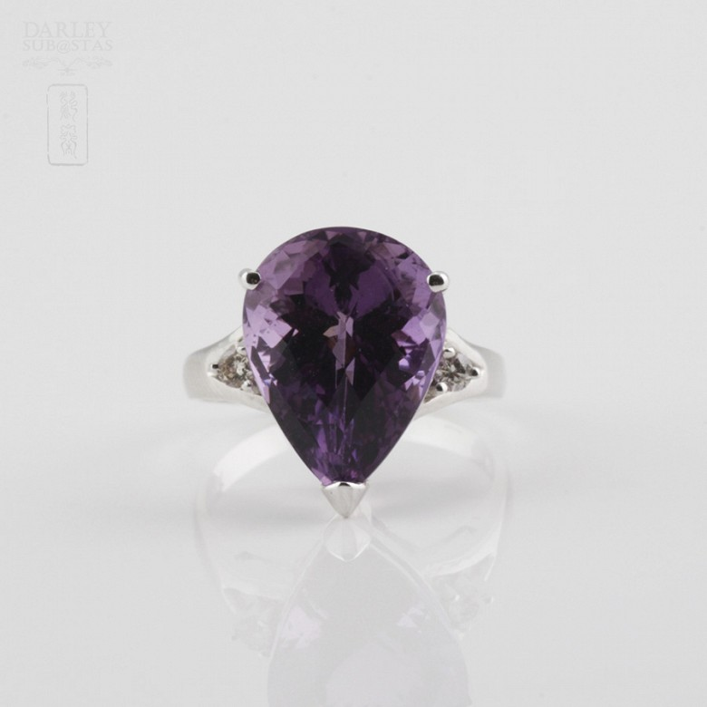Fantastic ring with Amethyst and Diamond - 4