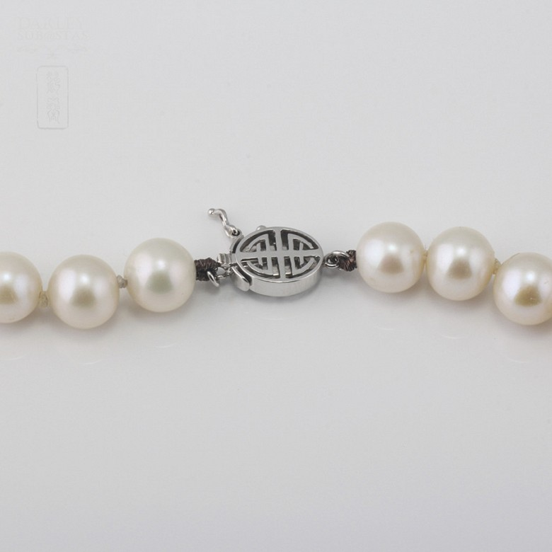 Necklace with Natural pearls and closure 14K white gold - 2