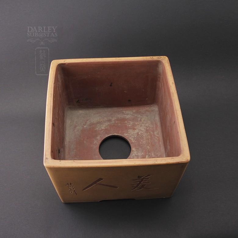宜兴四方紫砂盆,北岩制 - 2