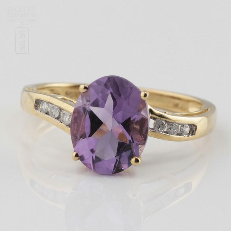 18k白金镶紫晶配钻石戒指 - 3
