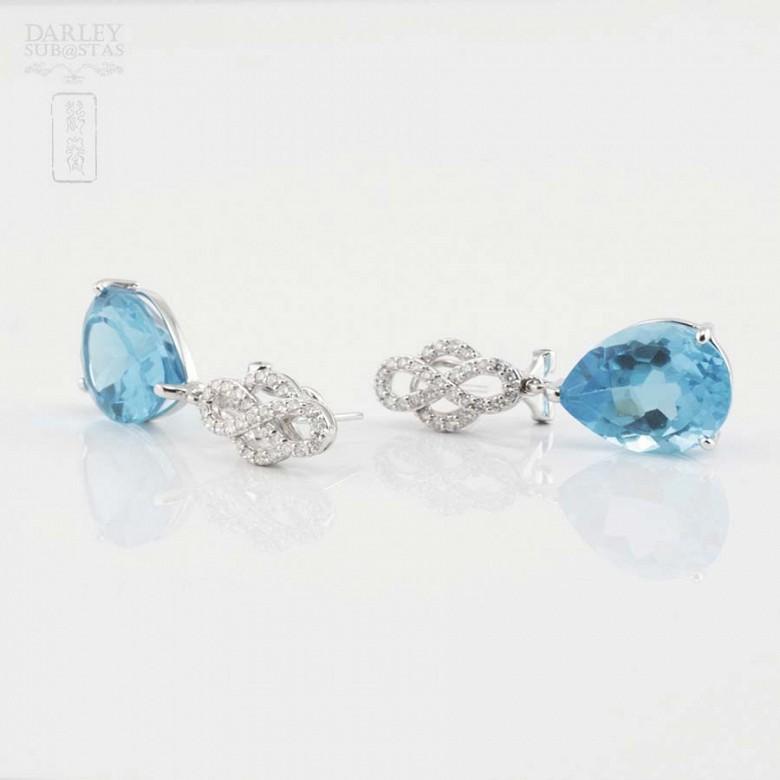 18k白金镶蓝晶配钻石耳环 - 2