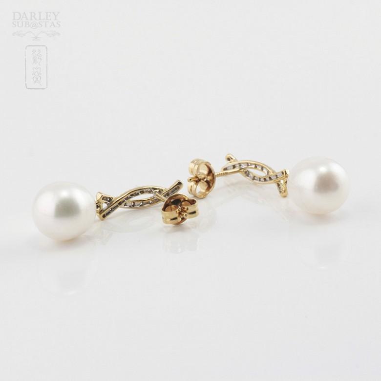 Bonitos pendientes perla y diamantes - 2