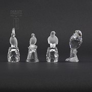 Set of four figures of birds in Swarovski Crystal