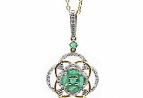 Colgante en oro amarillo de 18k, esmeraldas y diamantes