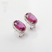 Earrings with ruby10.05cts and diamonds in white gold - 3