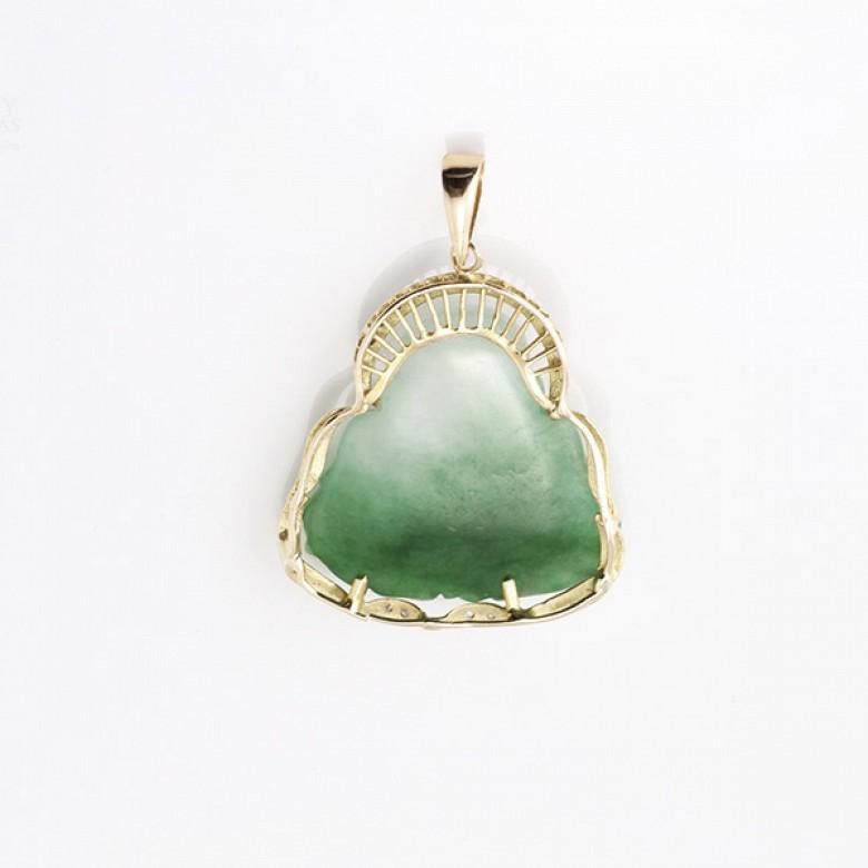 Colgante jade buda en oro amarillo de 14k y diamantes. - 1