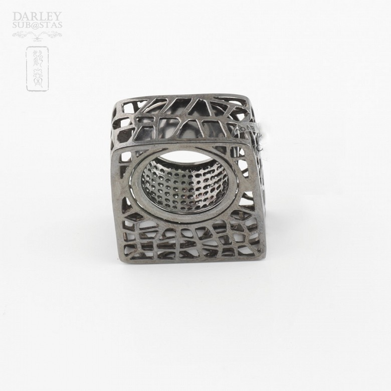Original ring in silver and black rhodium law - 3