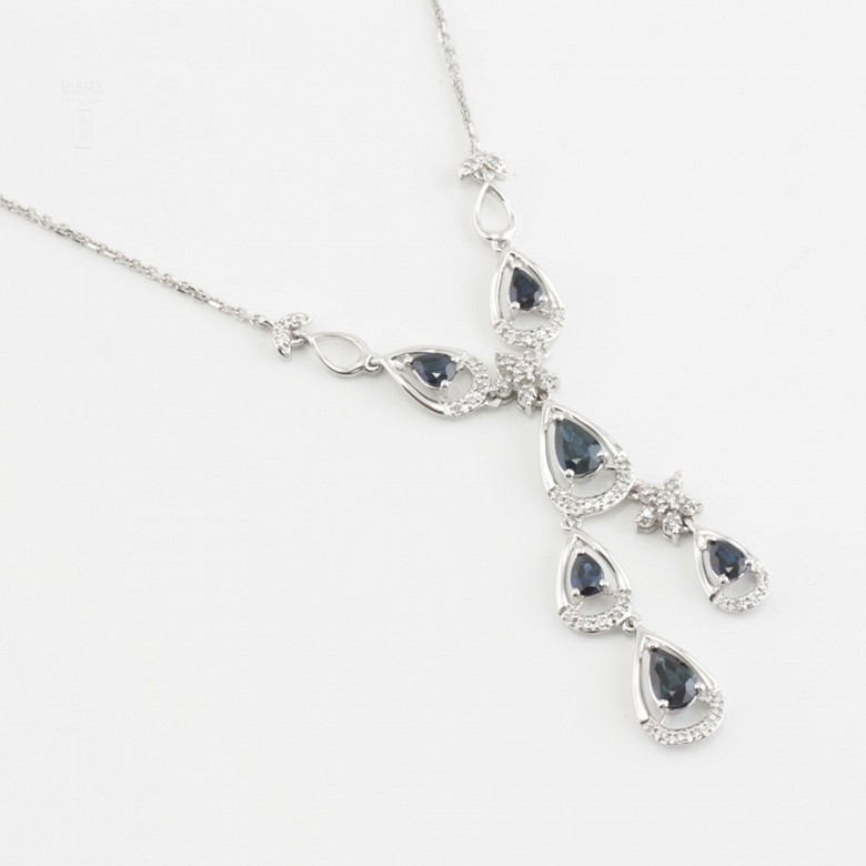 Precious necklace 18k white gold, sapphires and diamonds - 2