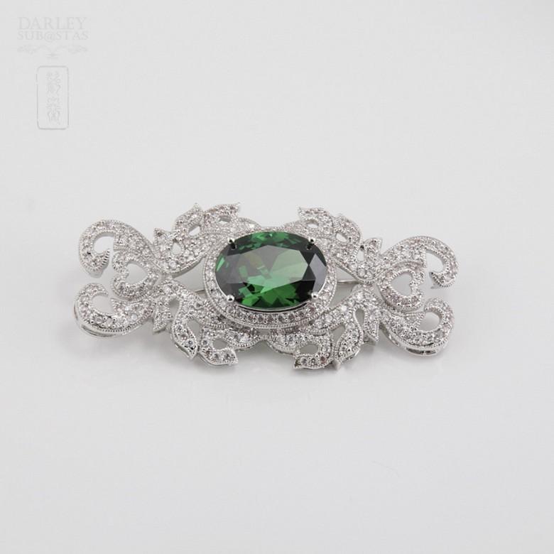 Aderezo de Fallera verde Esmeralda y plata Rodiado - 5