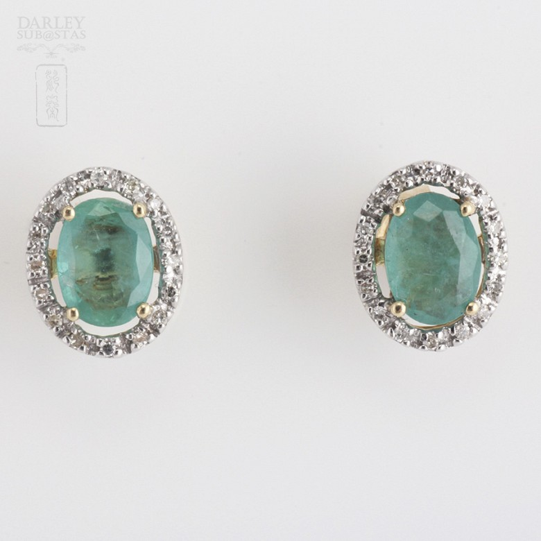 18k yellow gold, emerald and diamond earrings - 1