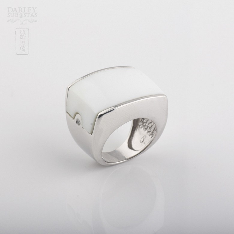 Porcelain ring in sterling silver 925m / m