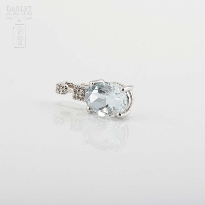 Pendant 1.12cts Aquamarine  in white gold and diamonds - 1